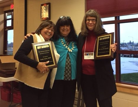 Emily Matt Salois (left), Lori Lambert, conference chair and AIRA founder (center), and Ann Bertagnoli of IMBRE (right) share a moment of celebration at the 2016 meeting. Emily and Ann hold awards for service to AIRA.