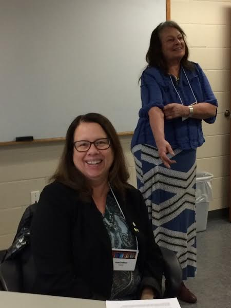 Anne Lindblom (seated), attending from Sweden, enjoys a workshop co-taught by Barb Smith and Linda Moon Stumpff (pictured, standing) at the AIRA 2016 meeting.